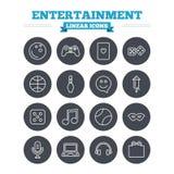 Ícones lineares do entretenimento ajustados Sinais finos do esboço Fotografia de Stock