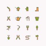 Ícones lineares do vetor de ferramentas de jardim ilustração do vetor