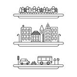Ícones lineares do vetor dos elementos da paisagem ajustados Alinhe árvores, coleção da arquitetura da cidade do vetor, grupo da  ilustração do vetor