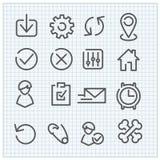 Ícones lineares do vetor moderno ajustados Imagens de Stock