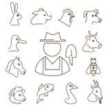 Ícones lineares dos animais de exploração agrícola ajustados Fotos de Stock Royalty Free