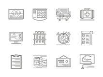 Ícones lineares dos elementos da cardiologia ajustados Fotografia de Stock