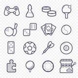 Ícones lineares dos jogos Jogando, linha ícones do jogo do esporte ilustração royalty free