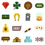 Ícones lisos ajustados do casino Imagem de Stock