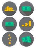 Ícones lisos ajustados Variações do dinheiro, moedas Ideias para o anúncio e as bandeiras Ilustração do vetor ilustração royalty free