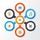 Ícones lisos audio ajustados Coleção do portfólio, piano, Tone And Other Elements Imagens de Stock Royalty Free