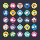 Ícones lisos coloridos ajustados das construções Foto de Stock Royalty Free