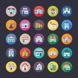 Ícones lisos coloridos ajustados das construções Fotos de Stock Royalty Free
