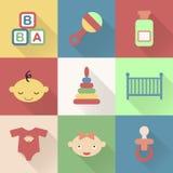 Ícones lisos coloridos do bebê com máscaras ilustração stock
