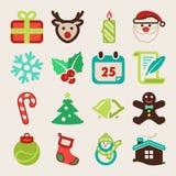 Ícones lisos coloridos do Natal Fotografia de Stock