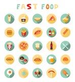 Ícones lisos coloridos do projeto do fast food ajustados Foto de Stock
