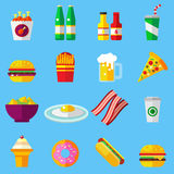 Ícones lisos coloridos do projeto do fast food ajustados elementos do molde para a Web e aplicações móveis Foto de Stock Royalty Free
