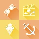 Ícones lisos coloridos do verão Imagens de Stock Royalty Free