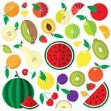 Ícones lisos coloridos dos frutos e das bagas ajustados Fotografia de Stock Royalty Free