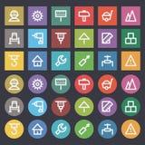 Ícones lisos construção ajustada do reparo Imagens de Stock Royalty Free