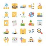 Ícones lisos criativos ajustados da entrega logística ilustração royalty free
