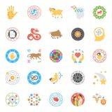 Ícones lisos criativos do horóscopo, da numerologia e da astrologia Imagens de Stock Royalty Free
