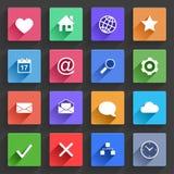 Ícones lisos da aplicação ajustados Fotografia de Stock Royalty Free