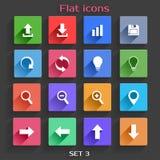 Ícones lisos da aplicação ajustados Imagens de Stock Royalty Free