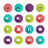 Ícones lisos da aplicação ajustados Fotografia de Stock