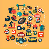 Ícones lisos da aptidão Imagem de Stock