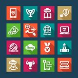 Ícones lisos da aptidão e da saúde Imagens de Stock Royalty Free