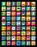 Ícones lisos da bandeira do mundo Fotos de Stock Royalty Free