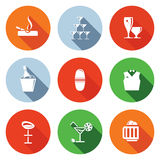 Ícones lisos da barra ajustados Imagem de Stock Royalty Free