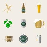 Ícones lisos da cerveja Fotos de Stock Royalty Free
