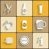 Ícones lisos da cerveja Imagens de Stock Royalty Free