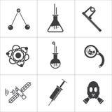Ícones lisos da ciência ilustração do vetor