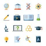 Ícones lisos da ciência ajustados Foto de Stock Royalty Free
