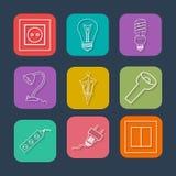 Ícones lisos da coleção com sombra longa Símbolos dos dispositivos bondes Ilustração do vetor Fotografia de Stock Royalty Free