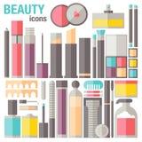 Ícones lisos da composição da beleza Imagem de Stock