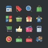 Ícones lisos da compra & do mercado do estilo da cor ajustados ilustração stock