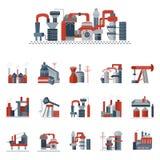 Ícones lisos da cor das fábricas industriais Fotografia de Stock Royalty Free