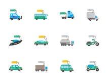 Ícones lisos da cor do auto negócio ajustados Fotografia de Stock
