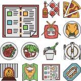 Ícones lisos da cor do restaurante Imagem de Stock