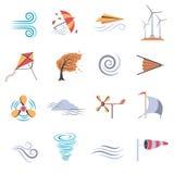 Ícones lisos da cor do vento ilustração stock