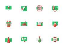 Ícones lisos da cor dos feriados do Natal ajustados Fotografia de Stock