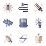 Ícones lisos da cor para economias de energia Imagens de Stock Royalty Free