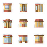 Ícones lisos da cor para a fachada de construção Foto de Stock Royalty Free