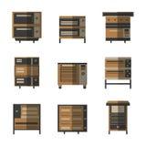 Ícones lisos da cor para fornos e fogões Fotografia de Stock