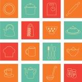 Ícones lisos da cozinha Imagens de Stock Royalty Free