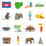 Ícones lisos da cultura de Camboja ajustados ilustração do vetor
