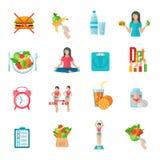 Ícones lisos da dieta fraca do peso ajustados Imagens de Stock Royalty Free