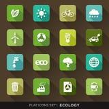 Ícones lisos da ecologia ajustados ilustração stock