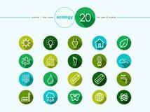Ícones lisos da ecologia ajustados Fotografia de Stock Royalty Free