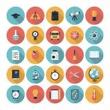 Ícones lisos da educação ajustados Imagens de Stock Royalty Free