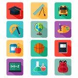 Ícones lisos da educação do projeto Imagem de Stock